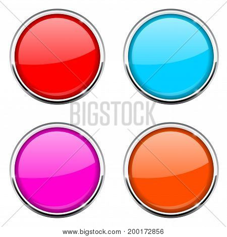 Round button with chrome frame. Colored collection. Vector 3d illustration isolated on white background