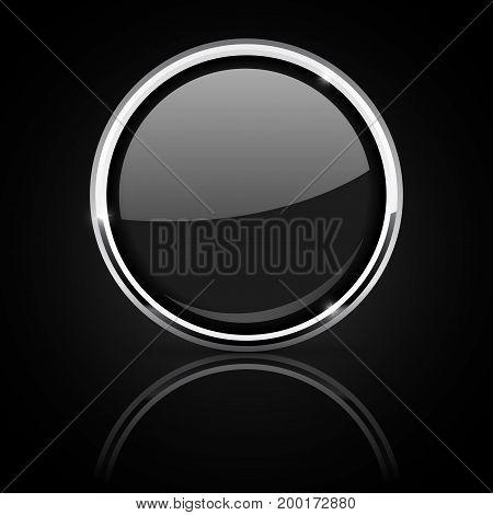 Black glass button with chrome frame on black background. Vector illustration