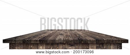 Empty wooden table perspective with clipping mask for product placement or montage with focus to table. Wooden board surface.
