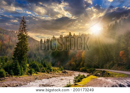 valley with river in foggy forest. Spectacular autumnal landscape in mountains at sunset in evening light