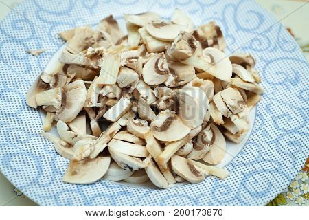 Chopped Champignons On Plate