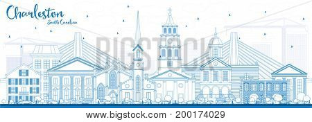 Outline Charleston South Carolina Skyline with Blue Buildings. Business Travel and Tourism Illustration with Historic Architecture.