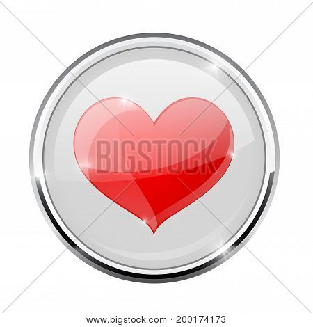 Heart symbol in round chrome frame. Vector 3d illustration isolated on white background