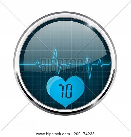 Electrocardiogram sign. Blue waves with pulse indication. Round 3d icon with chrome frame. Vector illustration isolated on white background