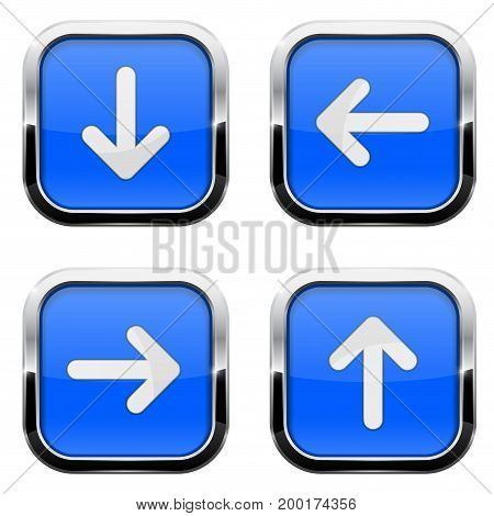 Blue glass square buttons with chrome frame. White arrow keys. Vector 3d illustration isolated on white background