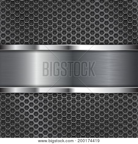 Dark metal perforated background with stainless steel plate. Vector 3d illustration