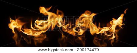 Fire Flames on black background - Banner