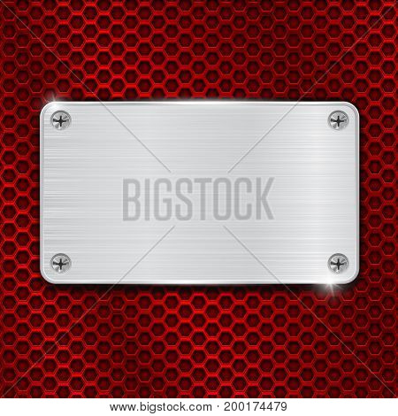 Red perforated background with metal brushed plate attached with screws. Vector 3d illustration