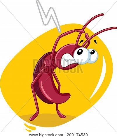 Scared Cockroach Insect Threatened by Insecticide Vector Cartoon