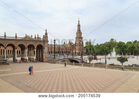 SEVILLE, SPAIN - MAY 21, 2017: The Plaza of Spain is an architectural ensemble in the neo-Moorish style in the park zone of the city.