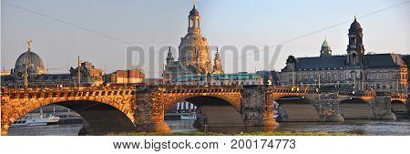 Dresden, Germany - September 2014: View to Frauenkirche of Dresden in September 2014 whilst sunset over river Elbe