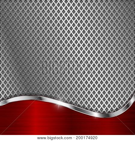Metal perforated background with red chrome curve element. Diamond shape holes. Vector 3d illustration