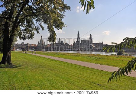View to the city of Dresden, Saxony - Germany