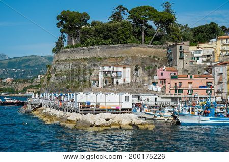 Sorrento Italy - June 18 2016: View of the harbor Marina Grande