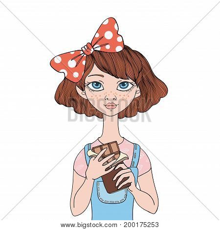 Young cute girl holding a chocolate bar. Sweet tooth. Vector portrait illustration, isolated on white background.