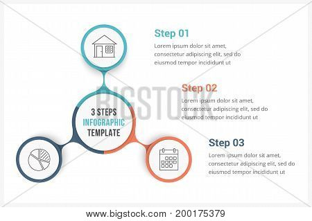 Circle infographics template with three elements, can be used as process diagram, steps, options, vector eps10 illustration