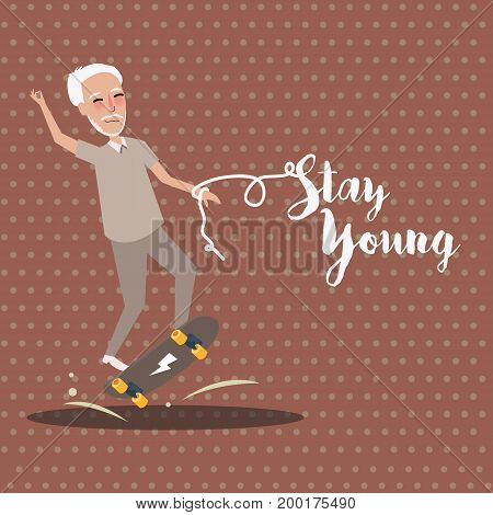 grandpa play skate board active happy old senior stay young vector