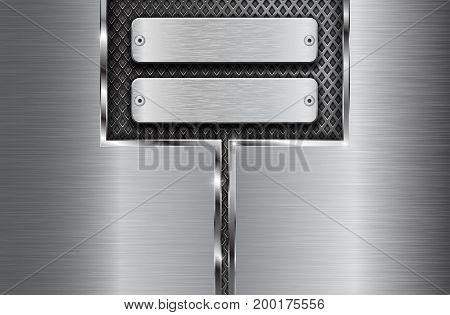 Metal brushed background with perforation and plate with screws. Vector 3d illustration