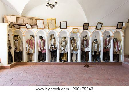 GANGI ITALY - July 03 2016: The crypt of the mother church where all priests are buried mummified.