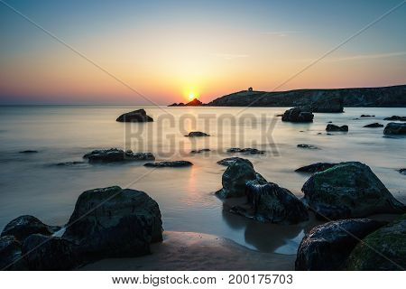 Sunset at Arche de Port Blanc in Saint-Pierre-Quiberon, Brittany, France