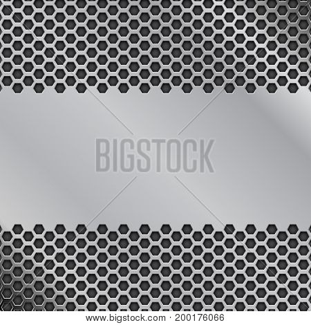 Metal perforated background with blank plate. Vector 3d illustration