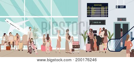 busy airport scene illustration with plane and people waiting in check-in counter man woman bring baggage for flight sitting and standing vector