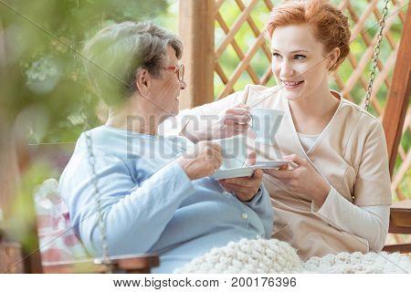 Pensioner Drinking Tea
