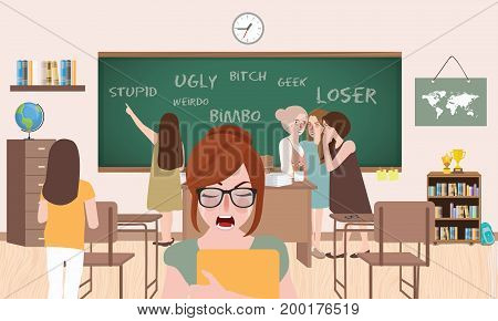 bullying in class room school between friends young female standing crying sadness pressure by classmates vector