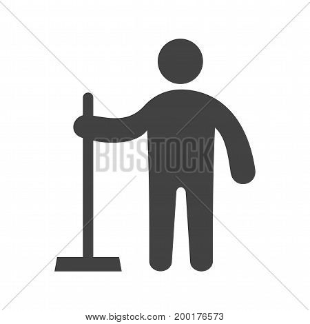Service, male, wiper icon vector image. Can also be used for Cleaning Services. Suitable for mobile apps, web apps and print media.