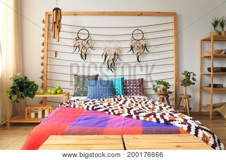 Bedroom With Colorful Bed