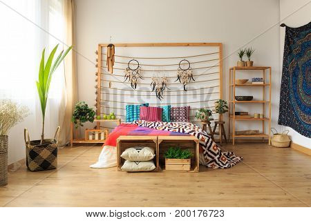 Apartment With Ethnic Bedroom