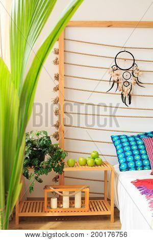 Bed Shelf In Ethnic Bedroom