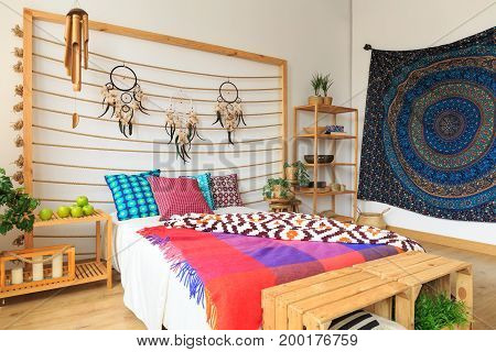 Colorful Bedroom In Ethnic Style