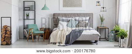Cozy Mint And Grey Bedroom