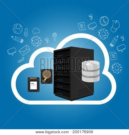 IaaS Infrastructure as a Service on the cloud internet hosting server storage vector