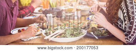 Friends Enjoying Their Vegetarian Meal