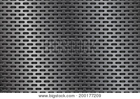 Metal perforated background. Oval shaped holes. Vector 3d illustration