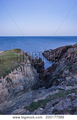 Coastal hike to sunrise in Quiberon in Brittany on a spring morning