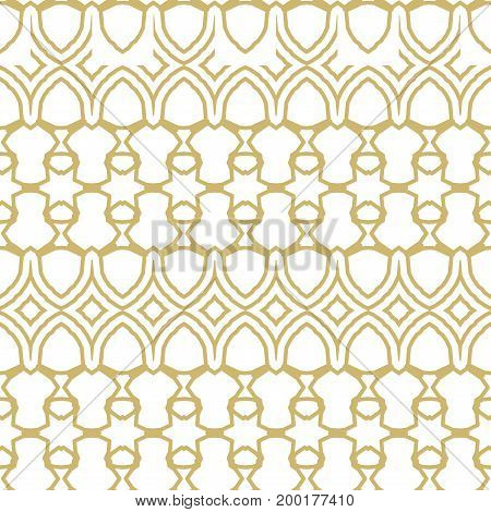 Seamless Border Isolated On White. Decorative Tileable Golden Ornament. Vector Illustration.
