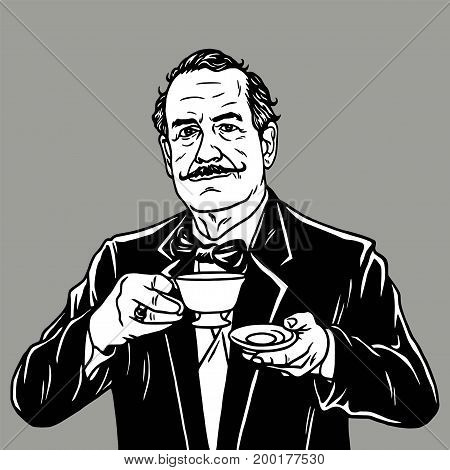 Man Drinking Tea. Vector Vintage Retro Illustration