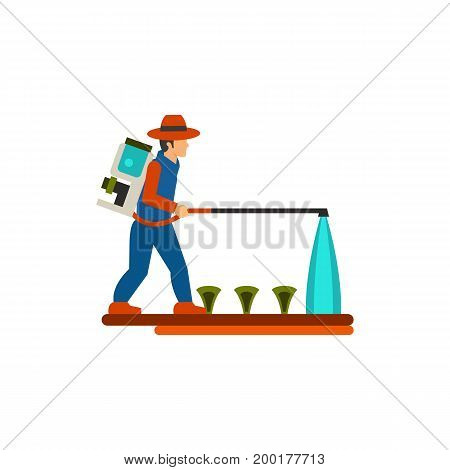 Icon of farmer spaying chemicals on plants. Field, pesticide, cultivation. Agriculture concept. Can be used for topics like farm, agronomy, plantation