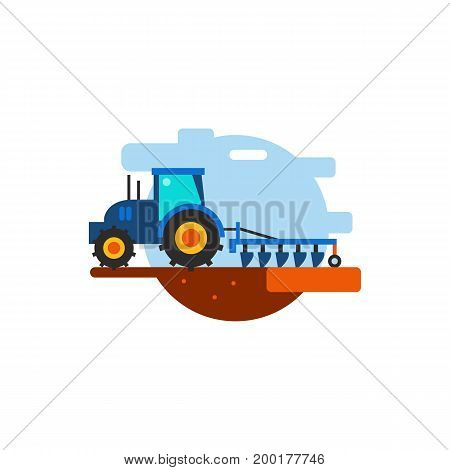 Icon of tractor working in field. Cultivation, harvesting, machine. Agriculture concept. Can be used for topics like farm, agronomy, plantation