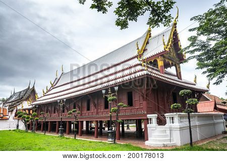 Wat Yai-Suwanaram Phetchaburi Thailand. Nature Landscape. Landmark.