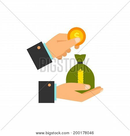Icon of hand and sack of wheat. Seed, grain, harvest. Agriculture concept. Can be used for topics like export, agribusiness, market