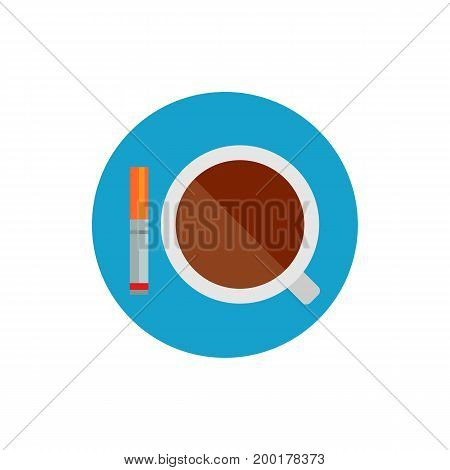 Icon of coffee cup with cigarette. Caffeine, energy, morning. Smoking concept. Can be used for topics like habits, cafe, unhealthy lifestyle