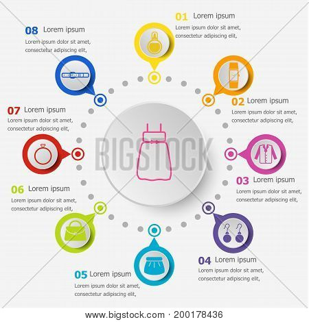 Infographic template with dressing icons, stock vector
