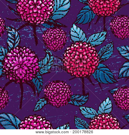 Ink hand drawn seamless pattern with chrysanthemums