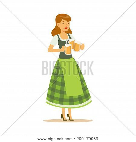 Pretty waitress in a green Bavarian traditional costume holding beer mugs, Oktoberfest beer festival vector Illustration on a white background