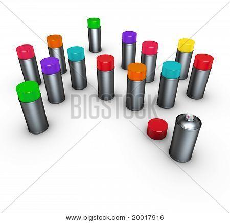 Group Of Spray-cans In Different Colors On White