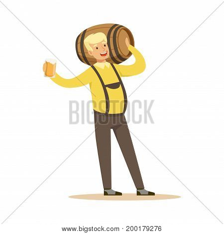 Smiling blonde man in a Bavarian traditional costume holding wooden barrel on his shoulder and beer mug in his hand, Oktoberfest beer festival vector Illustration on a white background